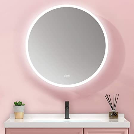 MIAOHUI Round LED Bathroom Mirror, Dimmable Backlit Mirror, Bathroom Smart Mirror Built in Touch Switch with Anti-Fog Function, Lighted Makeup Vanity Mirror, 6000k (Cold White) ,24 Inch
