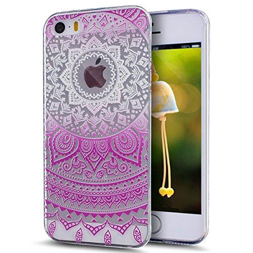 Kompatibel mit iPhone SE Hülle,iPhone 5S Hülle,iPhone 5 Hülle,Kristallklar Indische Sonne Datura Blumen TPU Silikon Hülle Tasche Crystal Durchsichtig Schutzhülle,Rose weiß Indische Sonne Datura Blumen