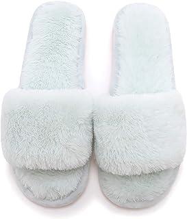 شباشب مخملية، شباشب مسطحة منزلقة مفتوحة عند أصابع القدم، أحذية منزلية، نعل ناعم مزغب، للاستخدام في المنزل داخل المنزل وخارجه