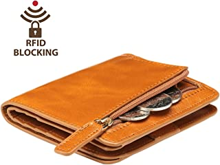 Itslife Women's Rfid Blocking Small Compact Bifold Leather Pocket Wallet Ladies Mini Purse with id Window