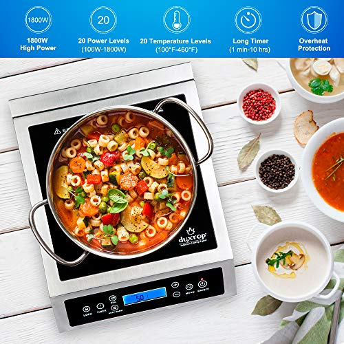 Duxtop Professional Portable Induction Cooktop, Commercial Range Countertop Burner, 1800 Watts Induction Burner with Sensor Touch and LCD Screen, P961LS