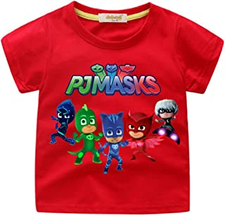 Boys Girls PJ Masks Short Sleeve T-Shirt Kids Catboy, Owlette, Gekko Short Sleeve Tee