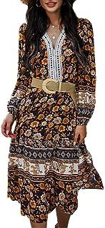 Abito da donna alla moda con stampa floreale a maniche lunghe, scollo a V, elastico in vita da spiaggia Swing Midi (fascia...