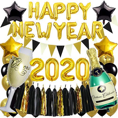 Zerodeco Suministros de Fiesta de Fin de año, Negro y Dorado Happy New Year Guirnalda 2020 Años Globos de Botella de Estrella Globos de Papel de champán Guirnalda Triangular Borla de Papel Globo
