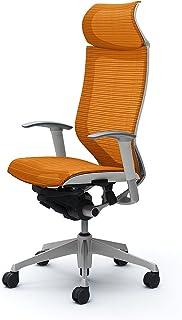 オカムラ デスクチェア オフィスチェア バロン 固定ヘッドレスト 可動肘 座メッシュ オレンジ CP87CW-FDH8