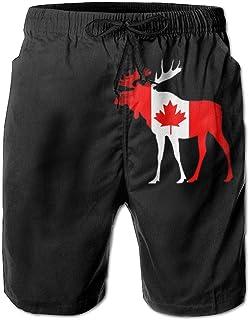 CCGGJPYI Mens Board Shorts Casual Moose and Canadian Flag 100% Polyester Elastic Waist Pants