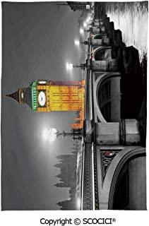 SCOCICI Spring and Easter Dinner Tablecloth,London,The Big Ben and The Westminster Bridge at Night in UK Street River European Look Decorative,Grey Yellow
