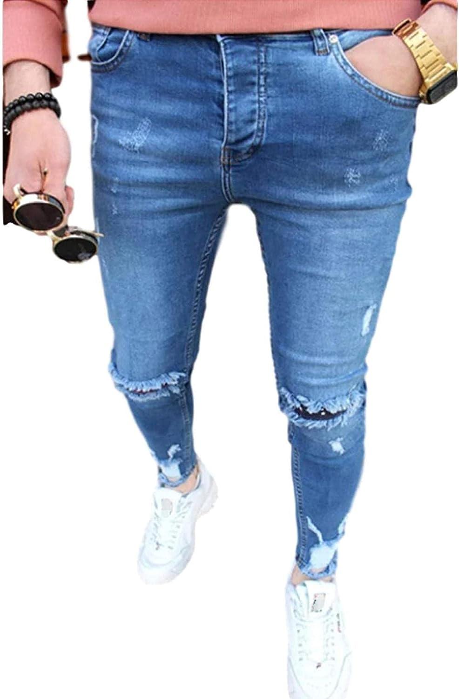Susanlife Men's Ripped Jeans Stretch 35% OFF Slim-fit Denim Austin Mall Zipper Blue