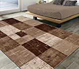 Ottomanson City Collection Modern Area Rug Contemporary Geometric Rug-5x7 (5'3' x 7'), 5'3' X 7'3', Brown-Beige Checkered