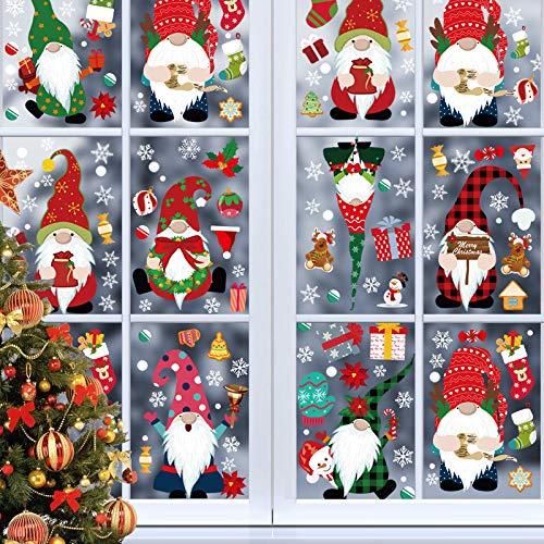 Kaishuai Decorazioni natale,Finestra,Vetrina,Decorazioni natalizie per la casa,Vetrofanie saldi,Vacanza Nuovi Anni Inverno Adesivi Statici in PVC 8 Fogli Natale Decorazione