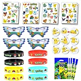 Herber Pikachu thème fête d'anniversaire faveur pour Les Enfants-Bracelets, Tatouages, Sacs-Cadeaux Goodie, insignes, Masques pour Les récompenses de Classe Carnaval Prix Ensemble Cadeaux