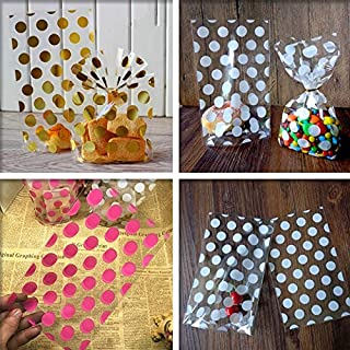 Gift Bags & Wrapping Supplies|100pcs Gold Pink White Polka dots Transparent Cookies Bags|Cellophane Bag|Candy Bags|by ATUKI