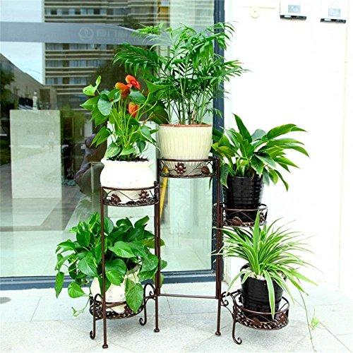 Étagères BOBE Shop- Plafonnier à Fleurs en Fer Pastoral intérieure Balcon Balcon Pots à Fleurs Présentoir à Rayon Vert Radix Orchid (Couleur : Bronze)