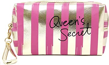 by you Portable Makeup Case Cosmetic Bag Pouch Travel Organizer Purse Wristlet With Zipper (STRIPED-HOT PINK)
