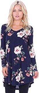Popana Women's Tunic Tops for Leggings Long Sleeve Shirt Plus Size Made in USA