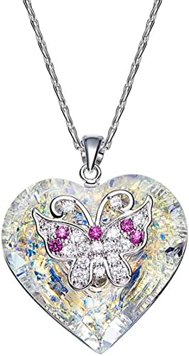 selección larga HXQSP Mariposa cristalino Collar Colgante Collar Boda Boda Boda Fiesta joyería de Navidad para mujeres niñas 40 CM  envío rápido en todo el mundo