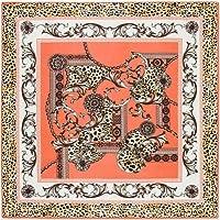 jiao 100%シルクスクエアスカーフホースプリントネッカチーフオリジナルデザインユーロキャリッジフラールヒジャーブシルクショールラップ女性スカーフLeopardLightOrange
