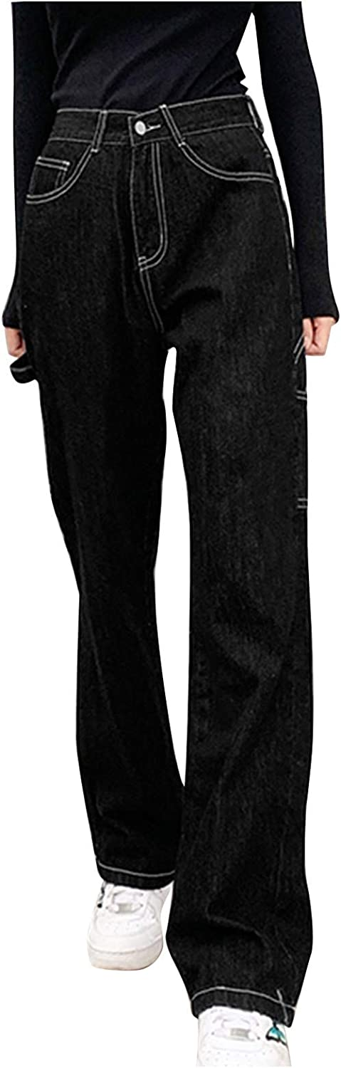 Kinsaiy Jeans for Women High Waisted Stretch,Retro Straight Leg Casual Baggy Trousers Tube Denim Jeans with Pockets