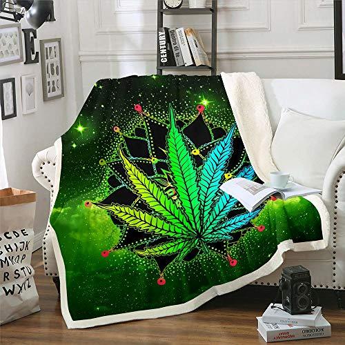 Manta de marihuana para niños, decoración de malas hierbas exóticas, manta de cama para adolescentes, hojas de cannabis bohemias, suave y cálida, juego de ropa de cama para...