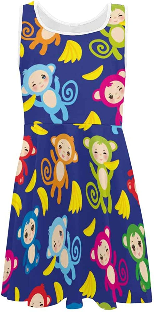 INTERESTPRINT Girls Dress Summer Sleeveless Casual Party Twirl Dresses 4-13 Years Funny Green Blue Pink Orange Monkey 6T