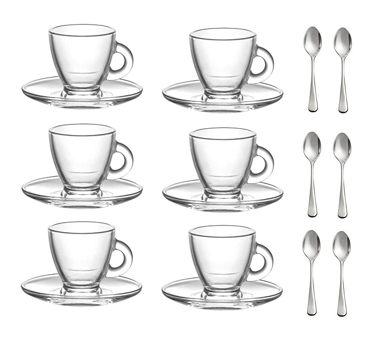 Roma 3.2-Ounce. Small Demitasse Clear Glass Espresso Drinkware, Set of 6 Cups/Saucers + Set of 6 Stainless Steel 18/10 mini Espresso Spoons! Hostess, Coffee Lover/Enthusiast, Espresso.