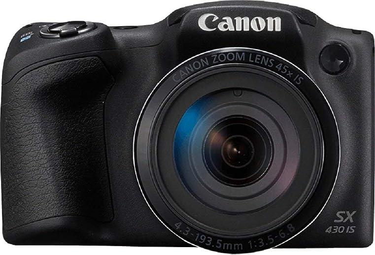 (Renewed) Canon SX430B PowerShot 20MP Digital SLR Camera (Black) with 45x Optical Zoom, 16GB Memory Card and Camera Case