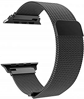 Compatible Band Replacement for Apple Watch 42mm 44mm Series 4/3 / 2/1, Stainless Steel Bracelet Strap with Unique Magnet Lock for Apple Watch Bands Women Men - Black