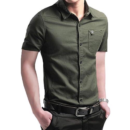 8c9dde9ba495 JHVYF Men s Short Sleeve Print Dress Shirts Solid Slim Fit Summer Casual  Button Down Shirt