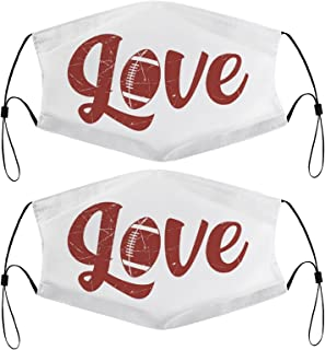 Love Football Sports Kids Face Masks Set of 2 with 4 Filters Washable Reusable Breathable Black Cloth Bandanas Scarf for U...