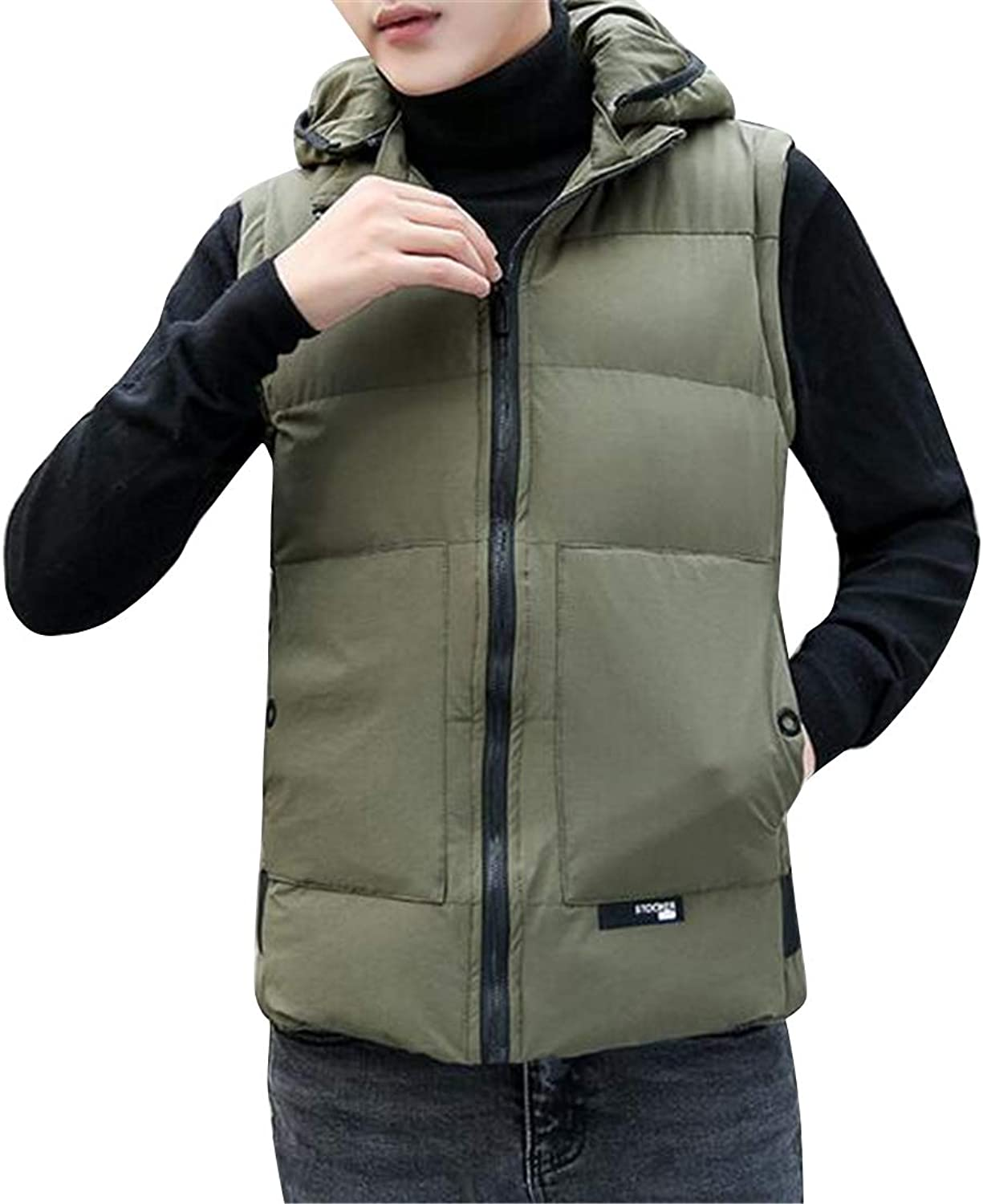 41ff1eb3bdabb MMCP Men Hooded Thicker Slim Pure color Warm Down Down Down Quilted Jacket  Coat Outwear Vest 01ca0f