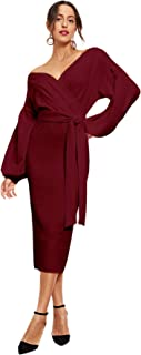 Women's Elegant Off Shoulder Wrap Belt Tie Front Lantern Sleeve Party Midi Dress