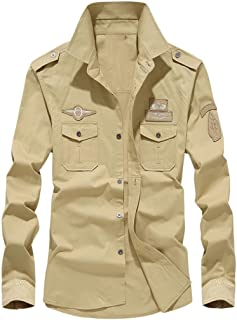 Mens Autumn Casual Military Slim Button Long Sleeve Dress Shirt Top Blouse