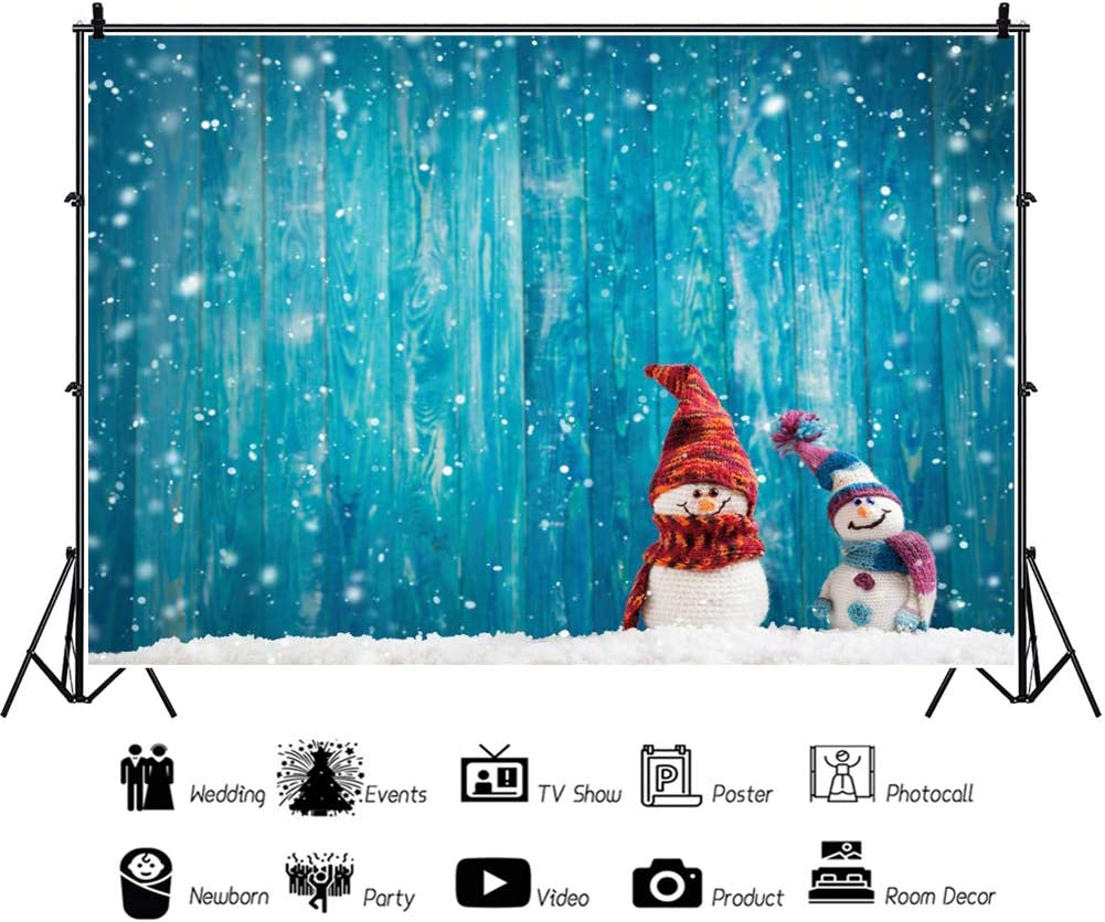 Laeacco 8x6ft Cute Snowman Snowing Scenery Vinyl Photography Background Rustic Blue Wooden Backdrop Wood Texture Plank Merry Christmas New Year Baby Shower Newborn Baby Portraits Children Adults Photo