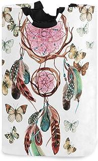 N\A Panier à Linge, Attrape-rêves Plumes Papillon paniers de Rangement pour Le Linge vêtements Pliables Sac Organisateur d...