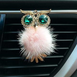 liqun Auto Lufterfrischer, Diamantenfell, Eule, Auto Lufterfrischer, Autoauslass, Parfüm Clip, Duft Aroma Diffusor, Bling Autozubehör, Pink