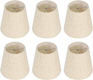 6 stuks vlas lampenkappen vervanging, kleine lampenkappen voor tafellampen wandlamp kroonluchter clip op lampenkap, 3,5x5,...