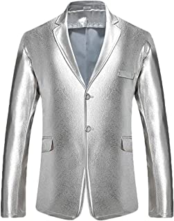 39761070fcd pipigo Men s Metallic Two Button Casual Nightclub Slim Blazer Suit Jackets  Sport Coat