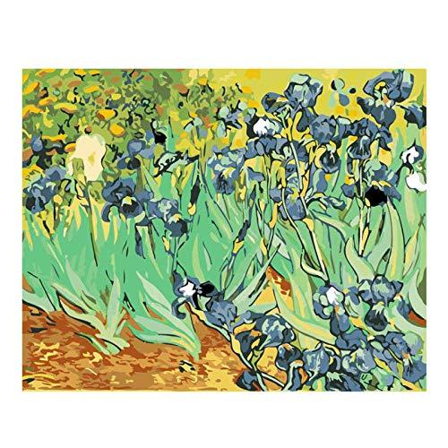 Kkooa Bloem Veld Diy Olieverfschilderij Van Nummers Vaas Verf Op Canvas Muur Foto'S Voor Woonkamer Kunst Aan De Muur Home Decor 40X50Cm Geen Frame