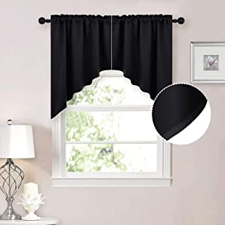 NICETOWN Half Window Kitchen Tier Curtains- Tailored Scalloped Valance/Swags (1 Set, 72 inches Wide Combined, 36 inches Long, Black)