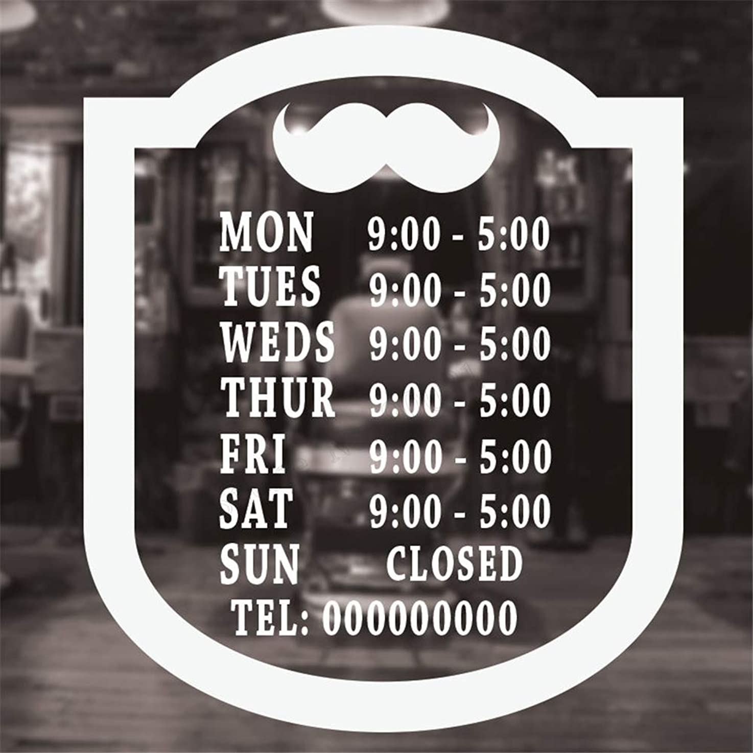 Eisoa Stickers Vinyl Wall Art Decals Letters Quotes Decoration Barber Shop Windows Opening Time Room Beauty Salon
