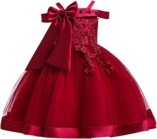 🌸New!!Toddler Kids Girl Sleeveless Princess Dress MS-SM Children Baby Floral Embroidered Bow Tulle Knee-Length Clothes 1Pc for 2Y-9Y