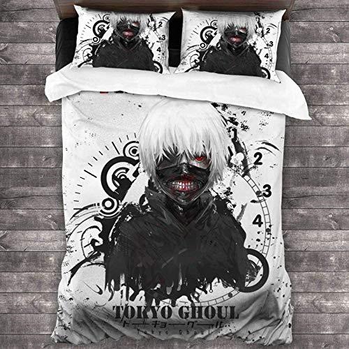 QWAS Tokyo Ghoul Juego de Ropa de Cama 3 Piezas, 1 Funda nórdica y 2 Fundas de Almohada con Cremallera, Funda nórdica para Niños y Niños (A1.200x200 cm + 50x75 cmx2)