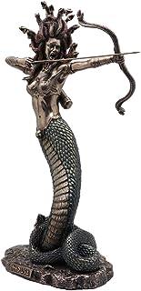 "Veronese Design 14 1/8"" Tall Cold Cast Resin Antique Bronze Finish Furious Medusa Shooting Arrow Greek Roman Goddess Statu..."