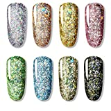 Gel Esmalte De Uñas 8 Colores/Lote 5 Ml Brillo De Diamante Brillante Gel Esmalte De Uñas Barnices Híbridos Para Manicura Nail Art Design Gel Polish Top And Base Set