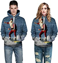 Snowmolle Couple Wear Hoodie Christmas Theme Unisex 3D Printed Pullover Hooded Sweatshirts Crew Neck Pockets