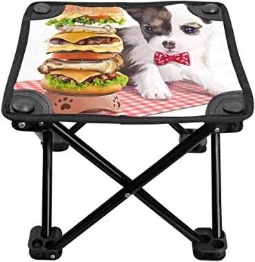 INTERESTPRINT Mini Camp Stool, Lightweight Camping Stool, Foldable Outdoor Chair for Travel Puppy with Hamburger