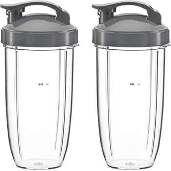 NutriBullet Flip Top To Go Lid with 32oz Tall Cup,Fits Nutribullet 600W 900W Blenders (2 Pack)