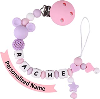 Pacifier Clip Personalized Name, MCGMITT Customized Binky Holder Teething Silicone Beads Toys for Baby Girls Boys Toddler (Purple)