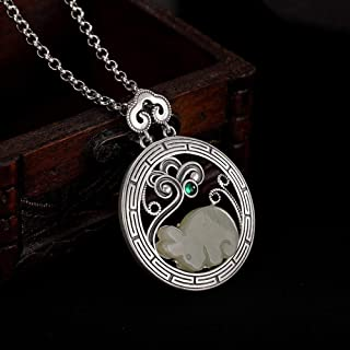THTHT S925 Sterling Silver Necklace Vintage Women White Jade Rabbit Simple Classical Pendant Palace National Wind Gift Fashion High-End Exquisite
