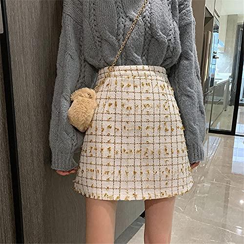 Falda Mujer Falda De Mujer A Cuadros Coreana Casual con Cremallera Invisible A-Line Mini Falda De Mujer...